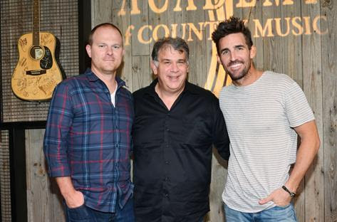 Photo (L-R): Brandon Gill, Morris Artist Management & ACM Board Member, Bob Romeo, Academy of Country Music, and Jake Owen. Photo credit: Courtesy of the Academy of Country Music