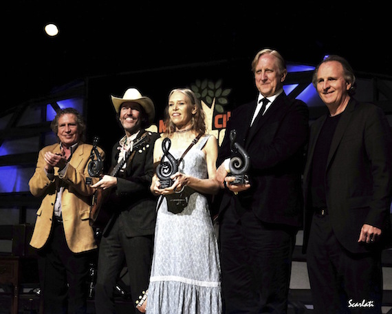 Pictured (L-R): Berklee songwriting professor Pat Pattison, David Rawlings, Gillian Welch, T Bone Burnett, and Berklee President Roger Brown.