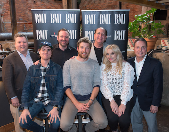 Pictured, Back Row: (L-R) BMI's Bradley Collins, Sony ATV's Josh Van Valkenburg and Atlantic Nashville's John Esposito. (Front Row, L-R): BMI songwriters Ross Copperman, Brett Eldredge and Heather Morgan with BMI's Jody Williams.