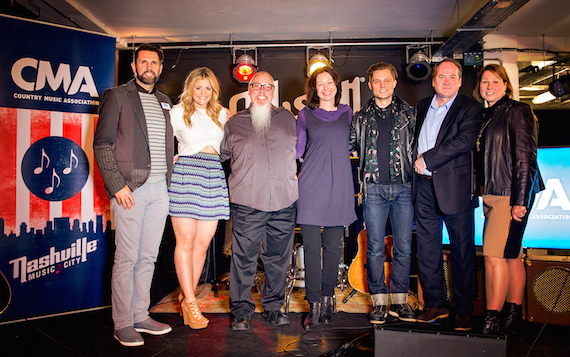Pictured (L-R): Damon Whiteside, CMA Senior VP of Marketing and Strategic Partnerships; Lauren Alaina; John Marks, CMA Board member and Spotify Global Senior Editor/Music Programmer, Country; Maria Molin Ljunggren, CMA Board member and Capitol Music Group AB - Sweden; Frankie Ballard; Bob Shennan, CMA Board member and BBC Director of Music; and Sarah Trahern, CMA Chief Executive Officer. Photo: Anthony D'Angio/CMA