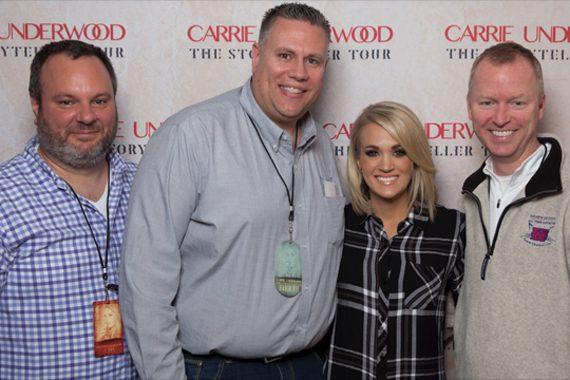 Pictured (L-R): Luke Jensen, Regional Promotion Manager, Arista Nashville; KXKT MD Hoss Michaels; Carrie; KXKT PD Erik Johnson.