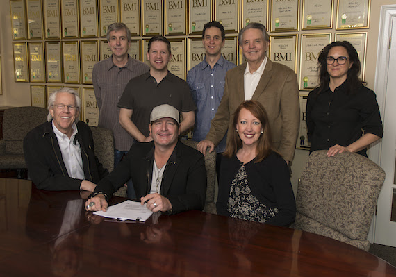 Pictured (standing): Mike Rogers (National Director, Promotion), Ryan Dokke (VP, Promotion), John Nemoy (VP, Legal Affairs), Mike Curb (Chairman, The Curb Group), LeAnn Phelan (Sea Gayle Management). Seated: Jim Ed Norman (CEO, The Curb Group), Jerrod Niemann, Tiffany Dunn (Loeb & Loeb)