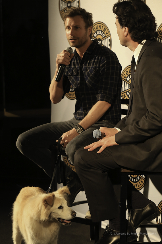 Dierks Bentley (with dog Jake) speaks to Peter Cooper at the Country Music Hall of Fame and Museum. Photo: Moments By Moser Photography