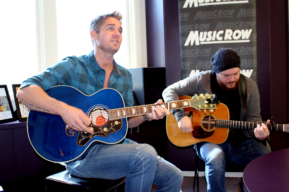 Brett Young performs for MusicRow staff. Photo: Molly Hannula