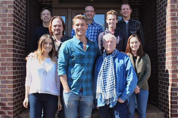Brett Young (and BMLG's Matthew Hargis) visit with MusicRow staff.