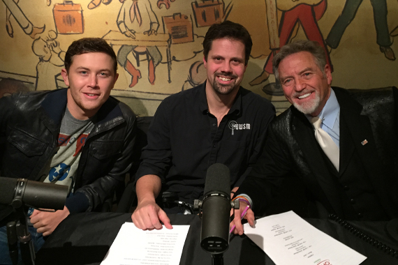 Pictured (L-R): Scotty McCreery, producer/co-anchor Jonathan Shaffer, and Larry Gatlin. Photo:  Scott Stem