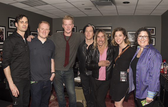 Dean Fertita, SAG-AFTRA's Josh Reese, musicians Josh Homme, Troy Leeuwen and Iggy Pop, BMI's Lauren Branson and SAG_AFTRA's Stefanie Taub gather for a photo backstage during SXSW at the ACL Live at the Moody Theater on March 16, 2016, in Austin, TX. (Erika Goldring Photo)