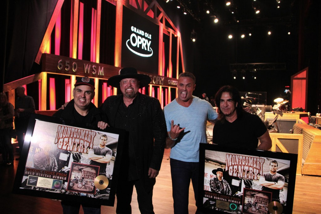 Pictured (L-R): Shannon Houchins, CEO/President-Average Joes Entertainment; Eddie Montgomery, Troy Gentry, Doug Kaye, V.P. Sales/Finance, Average Joes Entertainment
