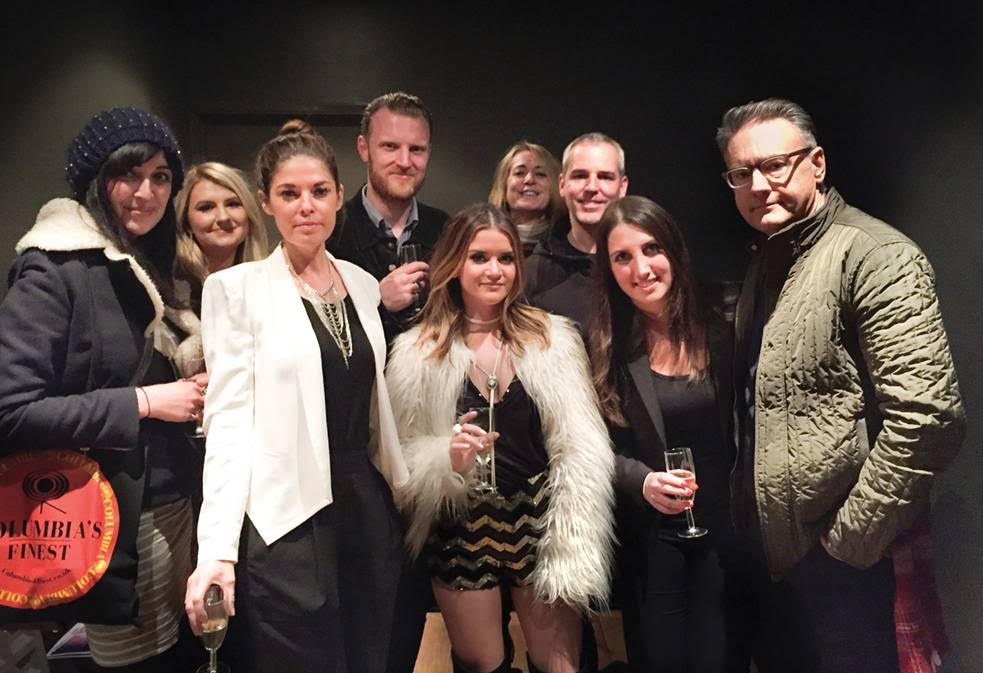 Columbia Records U.K. Co-President Alison Donald (back center) and various members of her team toast Maren Morris (front center) along with Morris' manager Janet Weir (3rd from left) and Sony Music Nashville's Chairman & CEO Randy Goodman (far right) before Morris' performance at The Borderline on Monday night as part of the C2C (Country to Country) Music Festival held in London, Glasgow and Dublin.