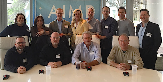 Pictured: Row One: Steve Markland, Marc Driskill, Chris Farren, Mark Brown; Row Two: Kari Barnhart (5/3 Bank) Denise Nichols (The Primacy Firm), John Ozier (AIMP Ex. Director/ole}, Ree Guyer Buchanan (AIMP Treasurer/Wrensong Music), Randy Wachtler (Warner/Chappell Production Music), Craig Currier (peermusic), Brad Peterson (5/3 Bank), John Allen (New West Records/Publishing)