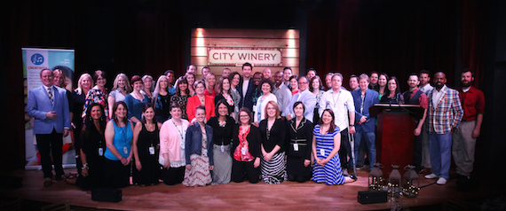 Brett Eldredge, center, is host of the CMA Teachers of Excellence event and gathers with teachers on stage at City Winery on April 27, 2016.