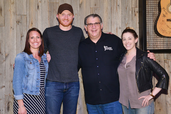 Pictured (L-R): Amanda Good, UMGN; Eric Paslay; Bob Romeo, Academy of Country Music; Rachel Silver, Red Light Management. Photo: Michel Bourquard/Courtesy of the Academy of Country Music