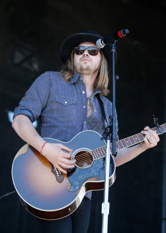 """LAS VEGAS, NEVADA - APRIL 02: Musician Michael Hobby of A Thousand Horses performs onstage at the 4th ACM Party for a Cause Festival at the Las Vegas Festival Grounds on April 2, 2016 in Las Vegas, Nevada. (Photo by Isaac Brekken/Getty Images for ACM)"""