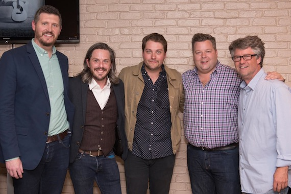 Pictured (L-R): Jon Freeman, journalist; Larry Murray, Foolish Kings Management; Rob Baird, artist; Bradley Collins, BMI; Jed Hilly, Americana Music Association. Photo credit: Steve Low