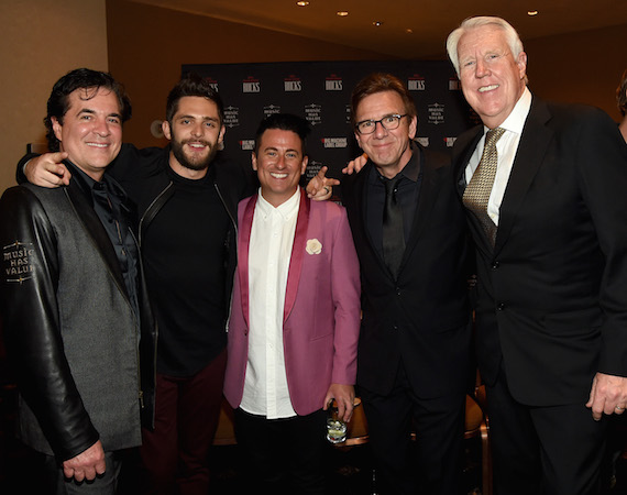 LAS VEGAS, NEVADA - APRIL 03: Big Machine Records founder Scott Borchetta and musician Thomas Rhett with guests attend the celebration of The 51st Annual ACM Awards with Big Machine Label Group at MGM Grand Hotel & Casino on April 3, 2016 in Las Vegas, Nevada. (Photo by Rick Diamond/ACM2016/Getty Images for Big Machine Label Group)