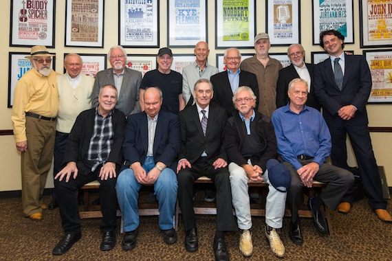 "Pictured (Back Row, L-R): Former Nashville Cats honorees Buddy Spicher, Bill Walker, Jimmy Capps, Eddie Bayers, Michael Rhodes, Steve Gibson, David Briggs, and Norbert Putnam; and the Country Music Hall of Fame and Museum's Peter Cooper; (Front Row, L-R): former Nashville Cats honorees Paul Franklin and Hargus ""Pig"" Robbins, Pete Wade, and former Nashville Cats honorees Bergen White and Billy Sanford. Photo: Kelli Dirks, CK Photo"