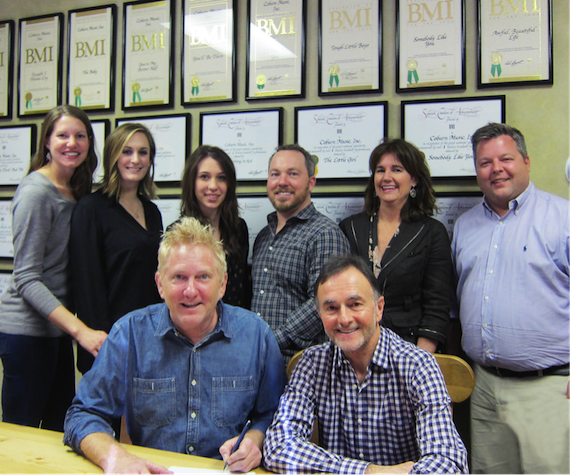 Standing (L-R): Casey Summar, Attorney; MaryAnn Keen, Catalog Manager, Ten Ten Music Group; Jamie Bruno, Creative Assistant, Ten Ten Music Group; Nathan Nicholson, VP Creative, Ten Ten Music Group; Lynn Morrow, Attorney, Adams And Reese; Bradley Collins, BMI; Seated (L-R): Trent Summar; Barry Coburn, President, Ten Ten Music Group