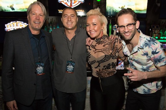 Pictured (L-R): Randy Wachtler, President & CEO, Warner/Chappell Production Music; David Epstein, Director of Licensing, Trailers, Warner/Chappell Production Music; Meghan Linsey; Tyler Cain