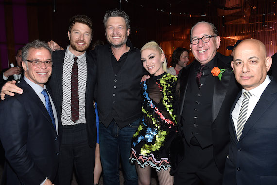 Pictured (L-R): Rac Clark (RAC Clark, Executive Producer ACM Awards), Brett Eldredge, Blake Shelton, Gwen Stefani, John Esposito (President & CEO, WMN), Jack Sussman (EVP Specials, Music & Live Events, CBS Entertainment)
