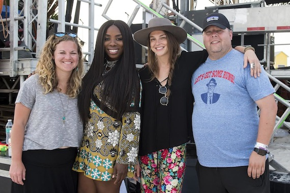 Pictured (L-R): Nina Carter, BMI; Jessy Wilson and Kallie North of Muddy Magnolias; Bradley Collins, BMI. (Erika Goldring Photo)