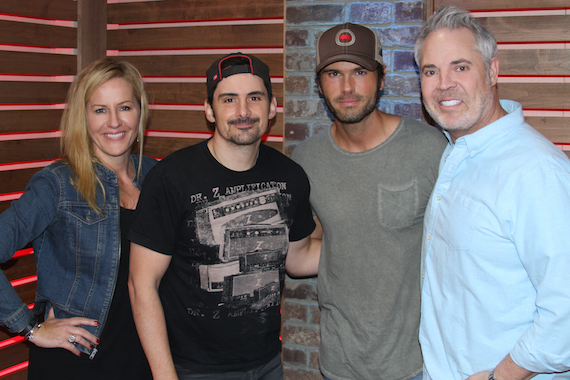 "Brad Paisley debuted ""Without A Fight"" on 'America's Morning Show' on Friday, May 13. Pictured (L-R): Kelly Ford, Brad Paisley, Chuck Wicks and Blair Garner"