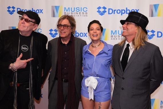 Cheap Trick's Rick Nielsen, Tom Petersson, Halsey, Cheap Trick's Robin Zander. Photo: Music Biz