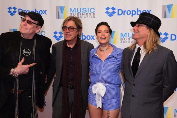 Cheap Trick's Rick Nielsen, Tom Petersson, Halsey, Cheap Trick's Robin Zander. Photo: Music Biz