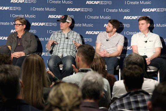 """Pictured (L-R): Songwriter Bonnie Baker; Cornman Music GM & VP, Creative, Nate Lowery; Black River Entertainment Creative Director Dave Pacula; Songwriter Forest Glen Whitehead speak during the 'This Is Country Music' panel, part of the 2016 ASCAP """"I Create Music"""" EXPO. Photo: Tommaso Boddi/Getty Images for ASCAP"""