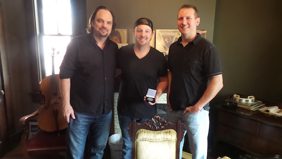 Pictured (L-R): MusicRow's Sherod Robertson, songwriter Josh Mirenda, and MusicRow's Troy Stephenson.