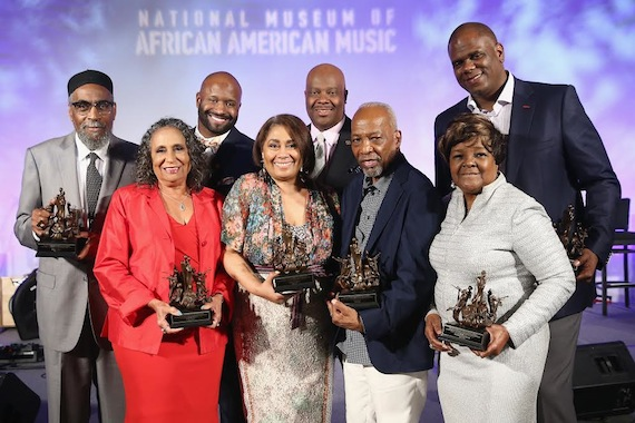 Pictured (Back Row, L-R): Kenneth Gamble, Shannon Sanders, H. Beecher Hicks III, Jon Platt. (Front Row, L-R): Cathy Hughes, Dyana Williams, Leon Huff, Shirley Caesar, Photo: Terry Wyatt/Getty Images for National Museum of African American Music