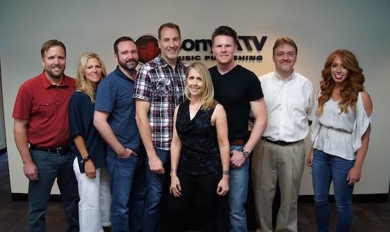 Pictured (L-R): Attorney Scott Safford, BMI's Leslie Roberts, SATV's Josh Van Valkenburg, SATV's Luteran, Mobley, Martin, Attorney Matthew Beckett, SATV's Hannah Williams