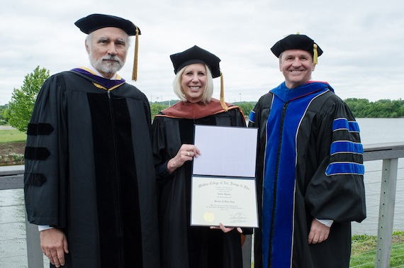 Pictured (L-R): Samuel E. Stumpf Jr., Watkins Board of Trustees Chair; Callie Khouri; J. Kline, President