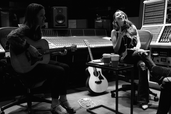 Songwriters Lacy Green and Kalie Shorr in the writing room as part of YouTube Space in Nashville. Photo: YouTube