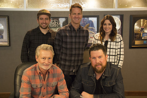 Pictured (Standing, L-R): Jonathan Smith, Essential Music Publishing; Blaine Barcus, Vice President of A&R, Provident Label Group; Karrie Dawley, Creative Director. Seated (L-R): Terry Hemmings,m President/CEO, Provident Music Group; Zach Williams