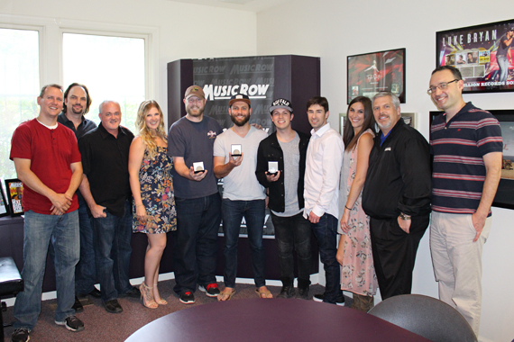 Pictured (L-R): MusicRow's Troy Stephenson and Sherod Robertson; Dan Hodges, Dan Hodges Music; Michelle Attardi, Dan Hodges Music); Jason Duke (writer); Ryan Griffin (writer); Josh Kerr (writer); Dave Pacula, Black River Publishing; Kelly Bolton, Black River Publishing; Gordon Kerr, CEO Black River Entertainment, MusicRow's Craig Shelburne