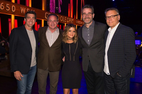 Pictured (L-R): Ken Robold, EVP & COO, Sony Music Nashville; Pete Fisher, Vice President & General Manager, Grand Ole, Opry; Maren Morris; Steve Buchanan, President, Opry Entertainment Group; Randy Goodman, Chairman & CEO, Sony Music Nashville. Photo: Rachael Black, Grand Ole Opry.