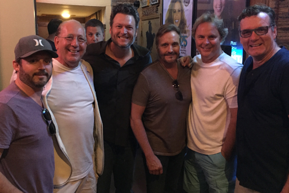Pictured (L-R): Brandon Blackstock (Starstruck Management), John Esposito (Chairman & CEO, WMN), Blake Shelton, Narvel Blackstock (Starstruck Management), Scott Hendricks (EVP A&R, WMN), Peter Strickland (EVP/GM, WMN).