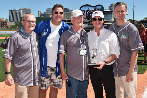 Chairman and CEO of Staples Ron Sargent, singer-songwriter Vince Gill, music industry veteran Bruce Hinton, President and CEO of the Big Machine Label Group Scott Borchetta, and President and CEO of City of Hope Robert Stone attend City of Hope's 26th Annual Celebrity Softball Game. Photo: John Shearer/Getty Images for City of Hope