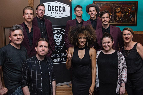 Pictured (back L-R) are: Trevor Davis, Austin Smith, Jake Thrasher, Jacob Bryant and John Davidson of the band John and Jacob. (Front L-R) Iain Snodgrass, 1634 Music International; Danny Roberts, Decca UK; artist Kandace Springs and Aisling Noonan and Rebecca Allen, Decca UK. Photo: Eric Adkins