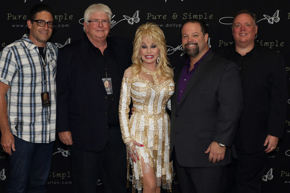 Pictured (L-R): National Shows 2's Darin Lashinsky, APA's Steve Martin, Dolly Parton, CTK Mgmt's Danny Nozell, and Webster PR's Kirt Webster. Photo: Jeremy Westby