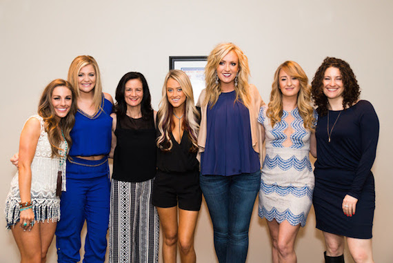 Participants in the CMT's Next Women of Country pose for a photo backstage at the CMA Theater. Pictured (L-R): Tara Thompson, Lauren Alaina, CMT's Leslie Fram, Brooke Eden, Clare Dunn, Margo Price, and the Country Music Hall of Fame and Museum's Abi Tapia.