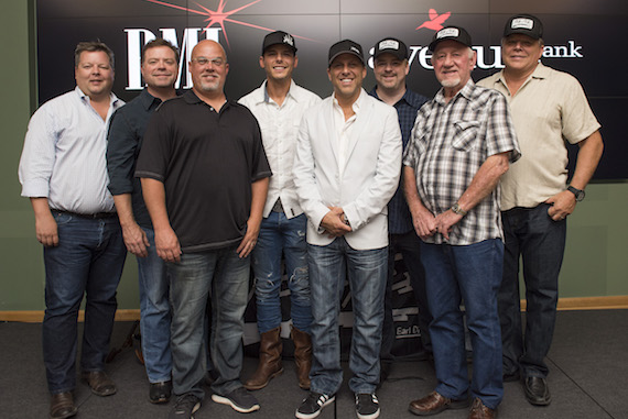 Pictured (L-R): BMI's Bradley Collins, songwriter Frank Rogers, Sea Gayle's Marc Driskill, BMI songwriter Granger Smith, Wheelhouse's Jon Loba, Warner/Chappell's Ben Vaughn, BBR's Benny Brown and BMI's David Preston. Photo: Erika Goldring