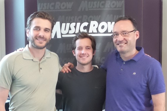 Pictured (L-R): Ryan O'Nan, 21 Guns Management; Hudson Moore; Craig Shelburne, General Manager, MusicRow