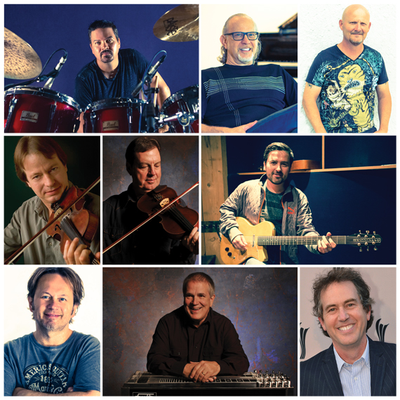 Top Row: Shannon Forrest, Charles Judge, Wes Hightower. Middle Row: Stuart Duncan, Larry Franklin, Ilya Toshinskiy. Bottom Row: Jimmie Lee Sloas, Paul Franklin, Justin Niebank.