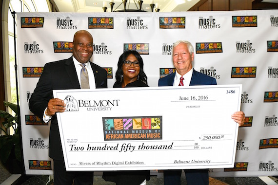 Pictured (L-R): NMAAM's H. Beecher Hicks, III, CeCe Winans, and Belmont University's Bob Fisher.