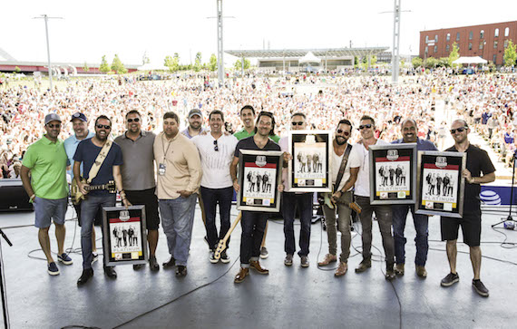 Pictured (L-R): Mike Betterton (MHM), Keith Gale (SMN), Brad Tursi (Old Dominion member), Storme Warren (SiriusXM The Highway), Jim Catino (SMN), Nate Ritches (MHM), Ken Robold (SMN), Will Hitchcock (MHM), Geoff Sprung (Old Dominion member), Randy Goodman (SMN), Matthew Ramsey (Old Dominion member), Trevor Rosen (Old Dominion member), Paul Barnabee (SMN), Whit Sellers (Old Dominion member). Photo: Courtesy of the CMA