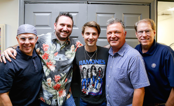 Pictured (L-R): Big Machine Label Group EVP Jimmy Harnen, SiriusXM Sr. Director of Programming J.R. Schumann, Ryan Follese, SiriusXM On-Air Personality Buzz Brainard and Switched On Entertainment President & CEO John Hamlin