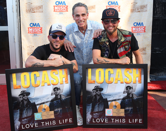 Pictured (L-R): Chris Lucas, Locash; David Ross, President/CEO, Reviver Records; Preston Brust, Locash. Photo: Webster PR