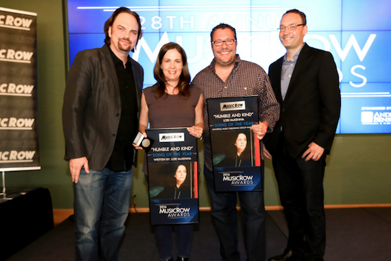 Pictured (L-R): Sherod Robertson, MusicRow; Lori McKenna; Kent Earls, Universal Music Publishing Group Nashville; Craig Shelburne, MusicRow. Photo: Moments By Moser