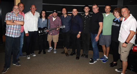 Pictured (L-R): Kevin Herring (SVP Promotion), Scott Hendricks (EVP A&R), John Esposito (Chairman & CEO, WMN), Diego Navaira (The Last Bandoleros), Chris Palmer (VP Promotion), Jerry Fuentes (The Last Bandoleros), Martin Kierszenbaum (Cherrytree Music Company), Derek James (The Last Bandoleros), Peter Strickland (EVP & GM, WMN), Chad Schultz (VP, Radio & Interactive Mktg.), Lisa Ray (VP, Brand Management), Tom Martens (Director, National Promotion)